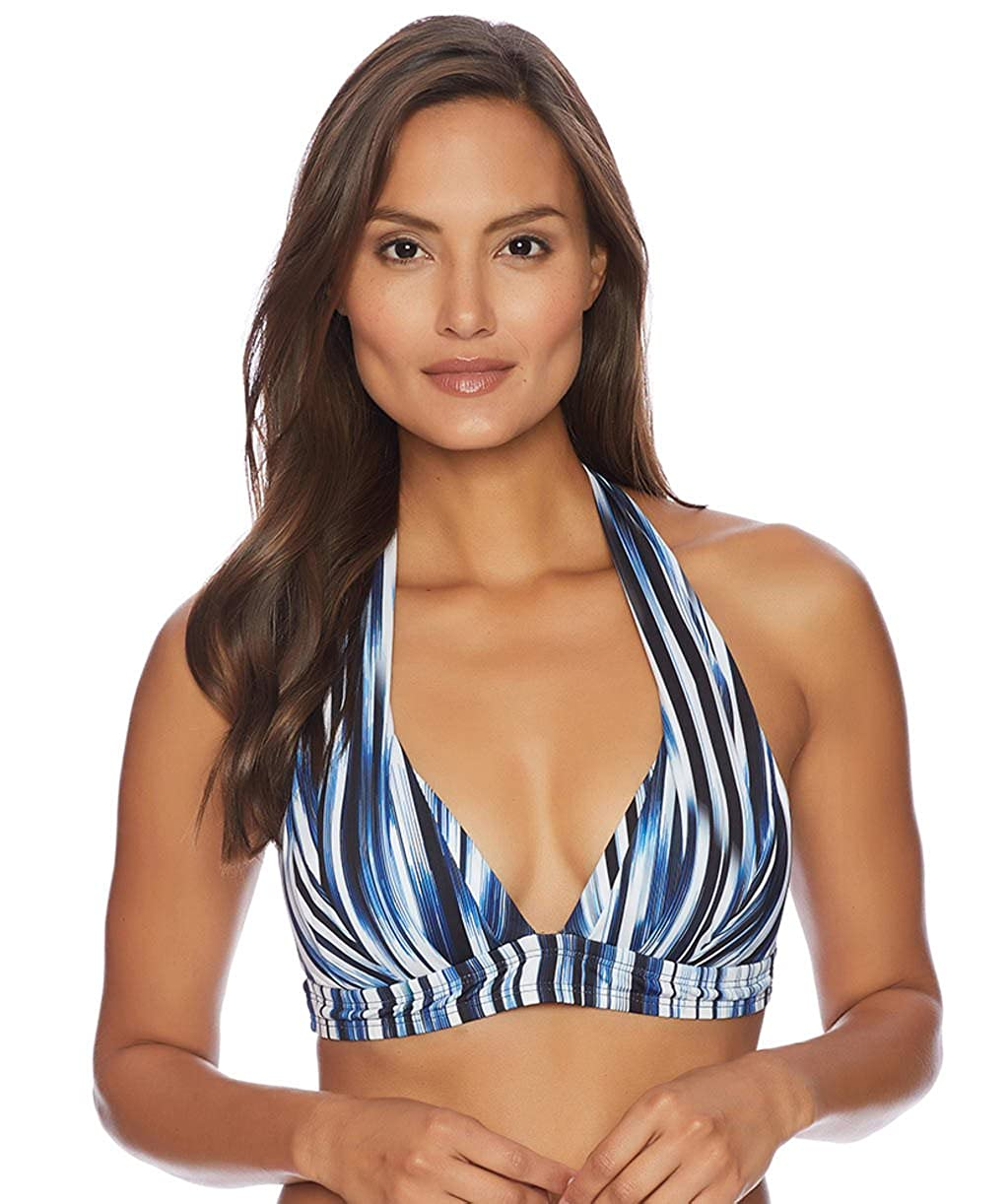 ba47a82f63743 Halter style bikini top with thick straps for support. Blue horizon striped  style print in blue, black and white. Molded cups for extra support