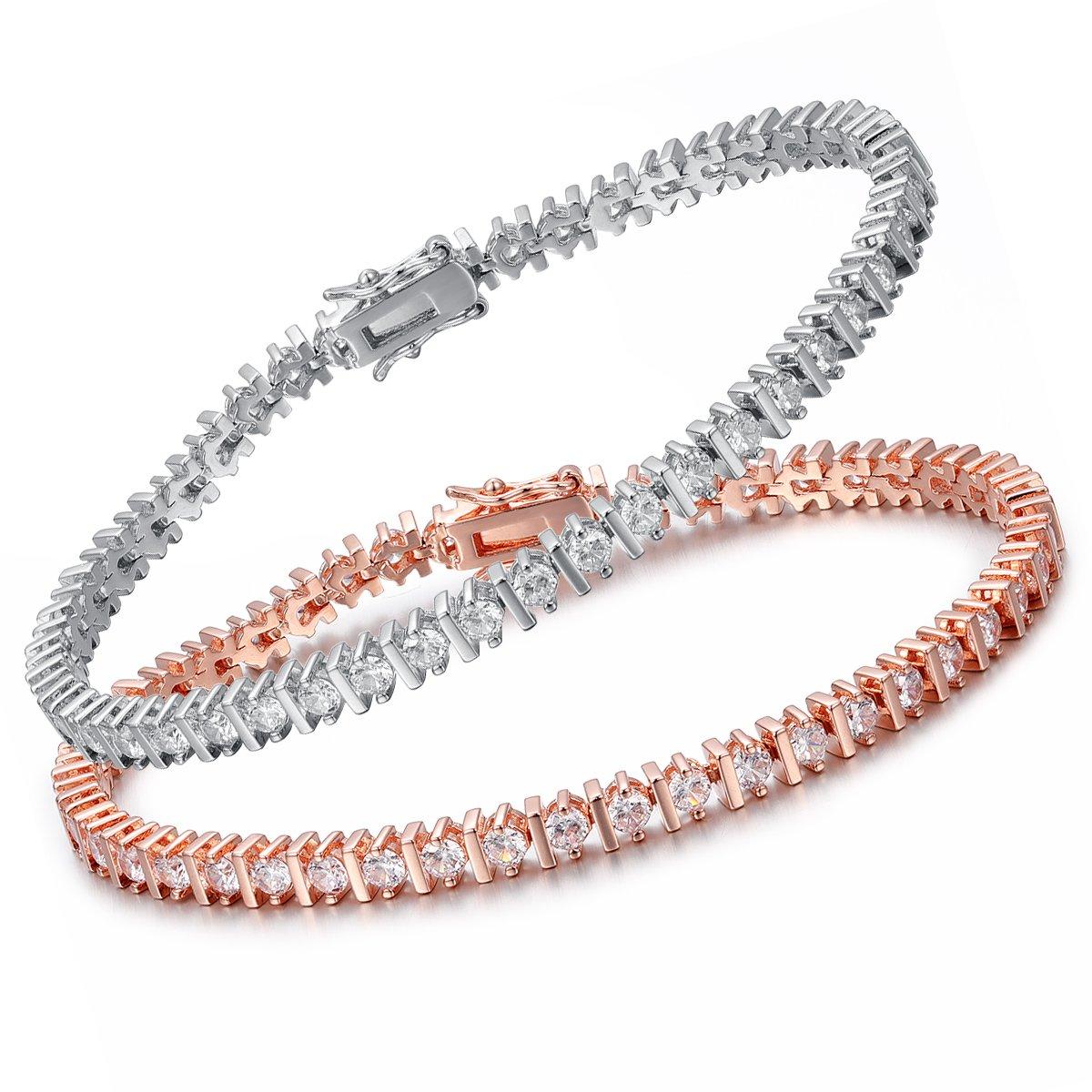 OPALTOP 2 Pairs Friendship CZ Tennis Bracelet 3mm Cubic Zirconia Women Men Couples Rose/white Gold Plated 7.5''
