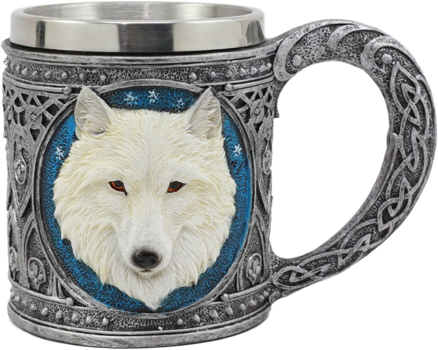 Alpha Gray Wolf Tribal Celtic Resin 16oz Mug With Stainless Steel Rim Figurine