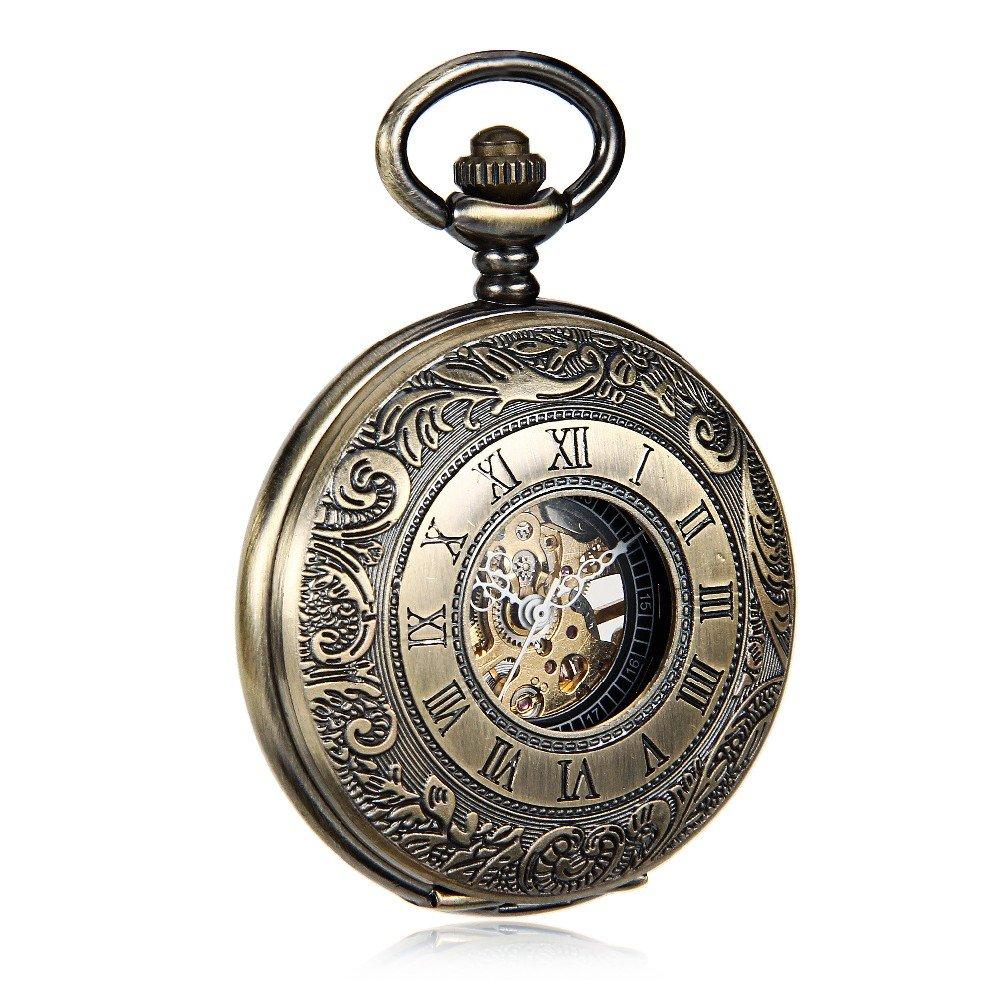 Amazon.com: Bronze Tone Pattern Case Black Dial Double Roman Numberl Hand Wind Mechanical Mens Pocket Watch w/Chain Reloj de bolsillo: Watches
