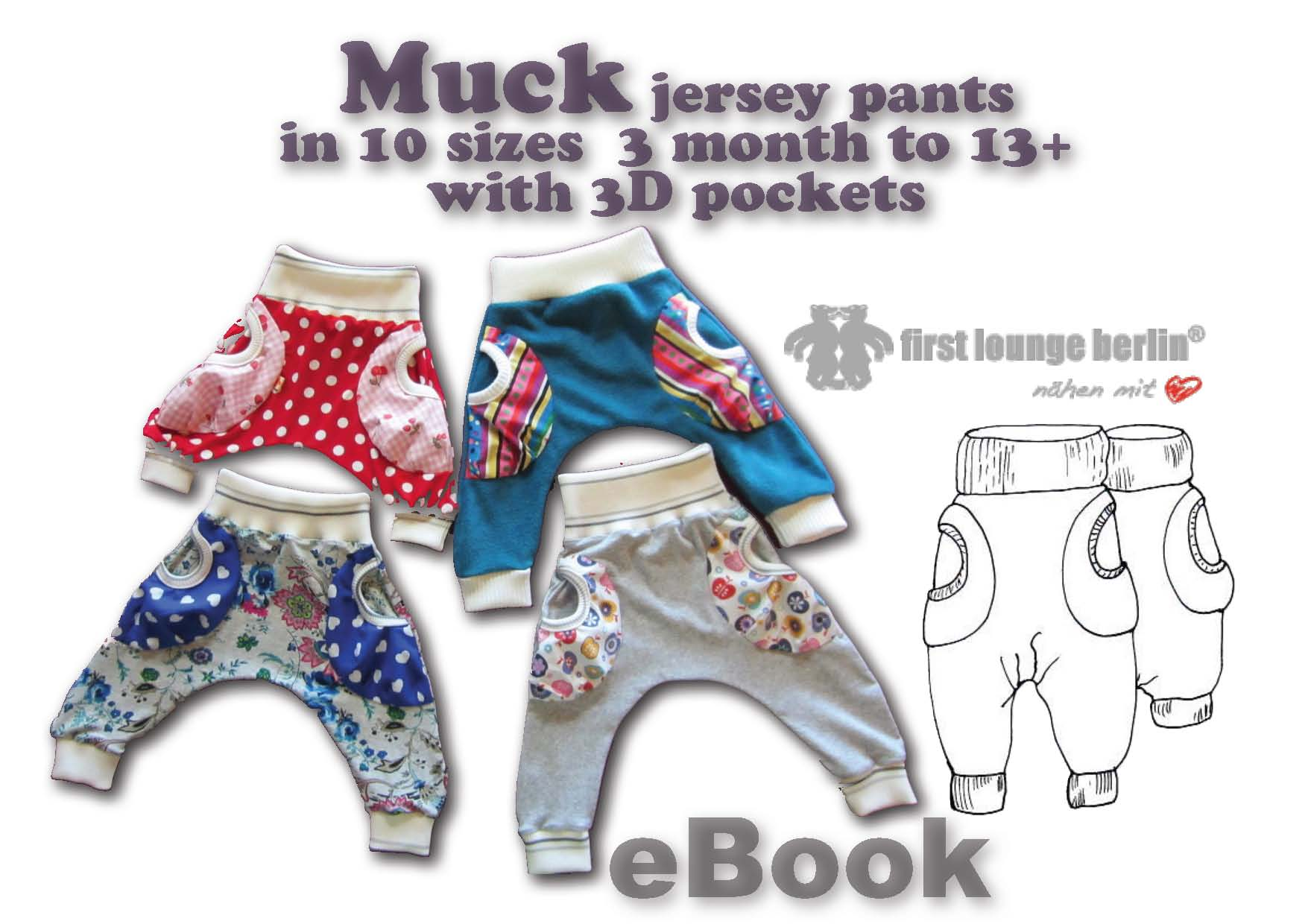 Price comparison product image Muck Jersey baggy trouser for kids with 3D pockets in 10 sizes [Download]