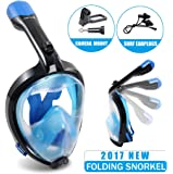 Full Face Snorkel Mask Surface Diving Scuba Gear Easy Breathing with Dry Snorkel & Camera Mount 180°Panoramic View Anti fog Anti Leak Snorkel Underwater for Adult & Youth