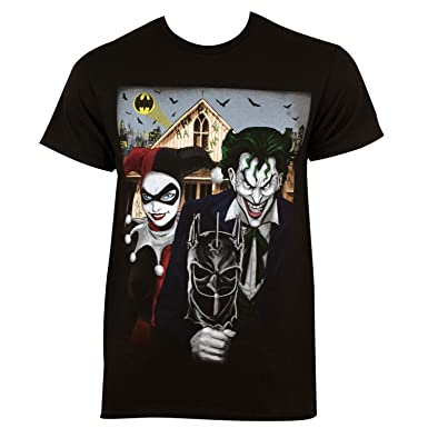 910168cd23ca Amazon.com: Harley Quinn The Joker American Gothic Tee Shirt: Clothing