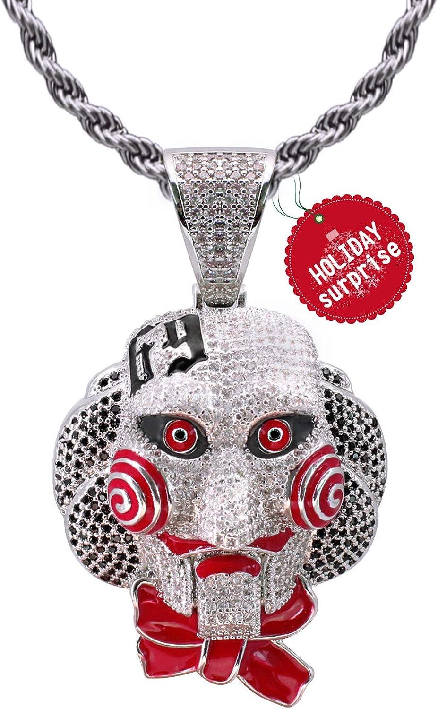 6ix9ine Saw Collar con Cadena Colgante de Diamantes Baño de Oro Blanco Tipico Colgante de Tekashi69 Fuera Medallón de Hip Hop Cadena de Cuerda de 24 Pulgada + Caja Clásico + Paño de Microfibra
