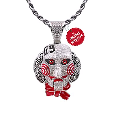 439c67684 TSANLY 6ix9ine Chain Necklace Saw Inspired White Gold Plated with Tekashi69 Pendant  Ice Out Hip Hop