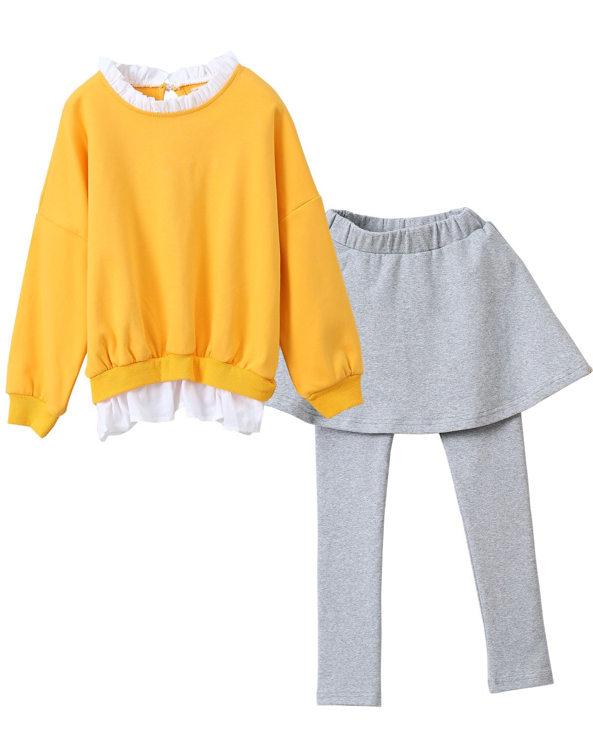 M RACLE Cute Little Girls' 2 Pieces Long Sleeve Top Pants Leggings Clothes Set Outfit (3-4 Years(100), Yellow Gray)