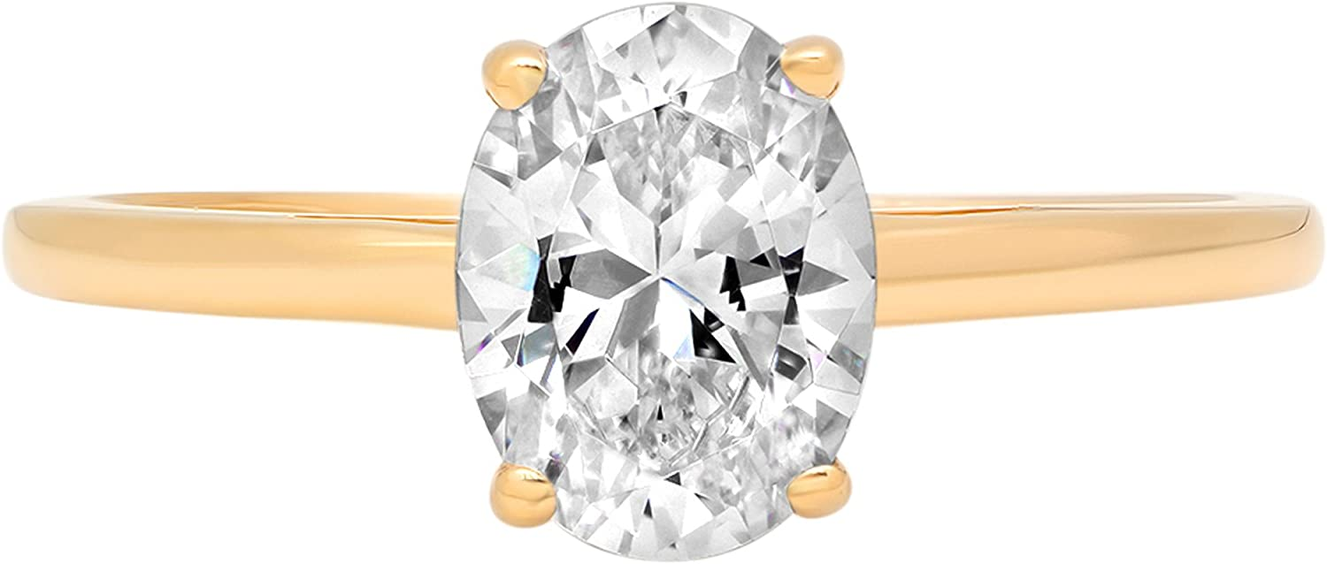 1.0 ct Brilliant Oval Cut Solitaire Highest Quality Moissanite Ideal VVS1 D 4-Prong Engagement Wedding Bridal Promise Anniversary Ring in Solid Real 14k Yellow Gold for Women