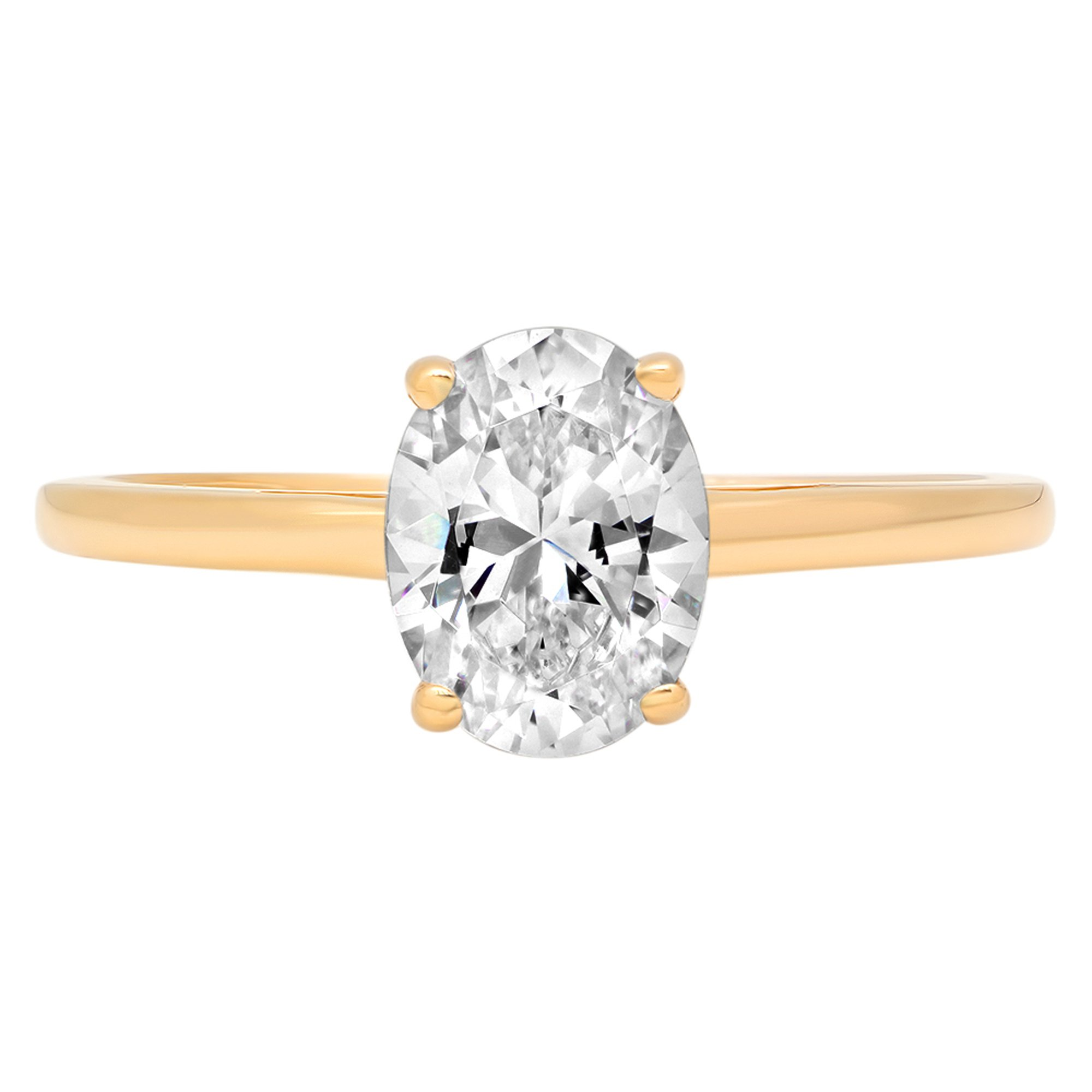 Clara Pucci 1.45 ct Brilliant Oval Cut Solitaire Engagement weddind Bridal Promise Ring Band in Solid 14k Yellow Gold, Size 5.75 by Clara Pucci