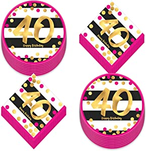 40th Birthday Party Supplies - Happy Birthday Pink and Gold Metallic Dessert Plates and Beverage Napkins (Serves 16)