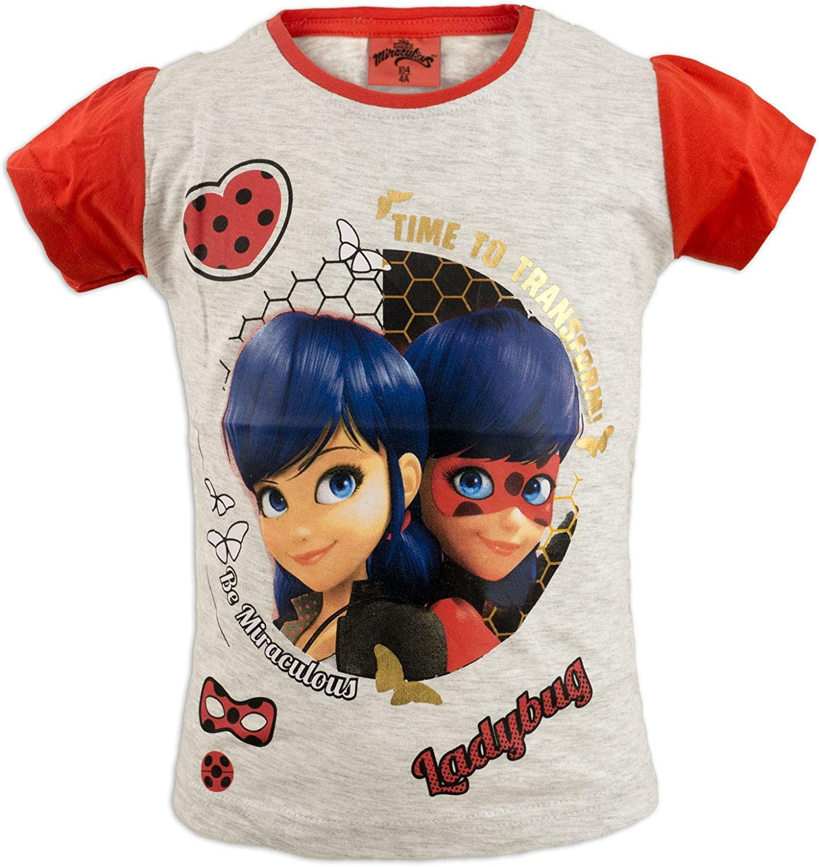 ciurmalandiashop T-Shirt Maglia Bambina Miraculous Ladybug Lady Bug Bambina Manica Corta Cotone Glitter