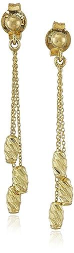 14k Yellow Gold Italian 3-Strand Diamond-Cut Beaded Dangle Earrings