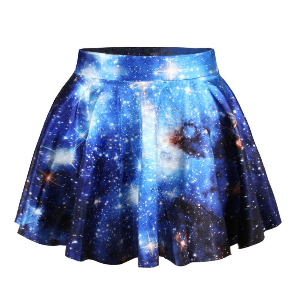Jiayiqi Frauen Glänzende Galaxie Drucken Dehnbar Aufgeweitetem Lässig Minirock Faltenrock WY1359