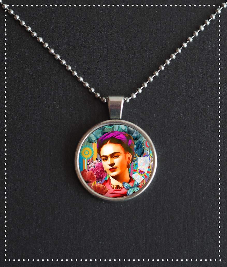 collana, pendente cabochon 25 mm, Frida Kahlo, pendente in vetro, ritratto multicolore, argentato