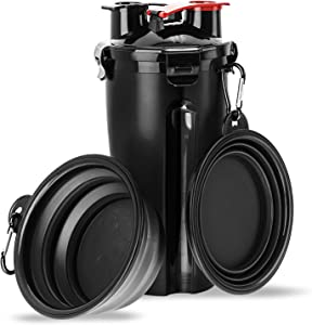 liangdu Pet Dogs Travel Water Bottle, 2 in 1 Portable Dog Cat Water Dispenser and Food Container with 2 Collapsible Bowls for Your Pets Walking and Traveling (Black)