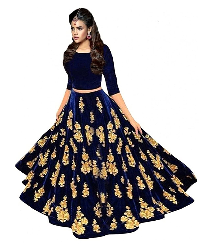 Lovisa Fashion Velvet Lehenga Choli (ballover_Blue_Free Size )