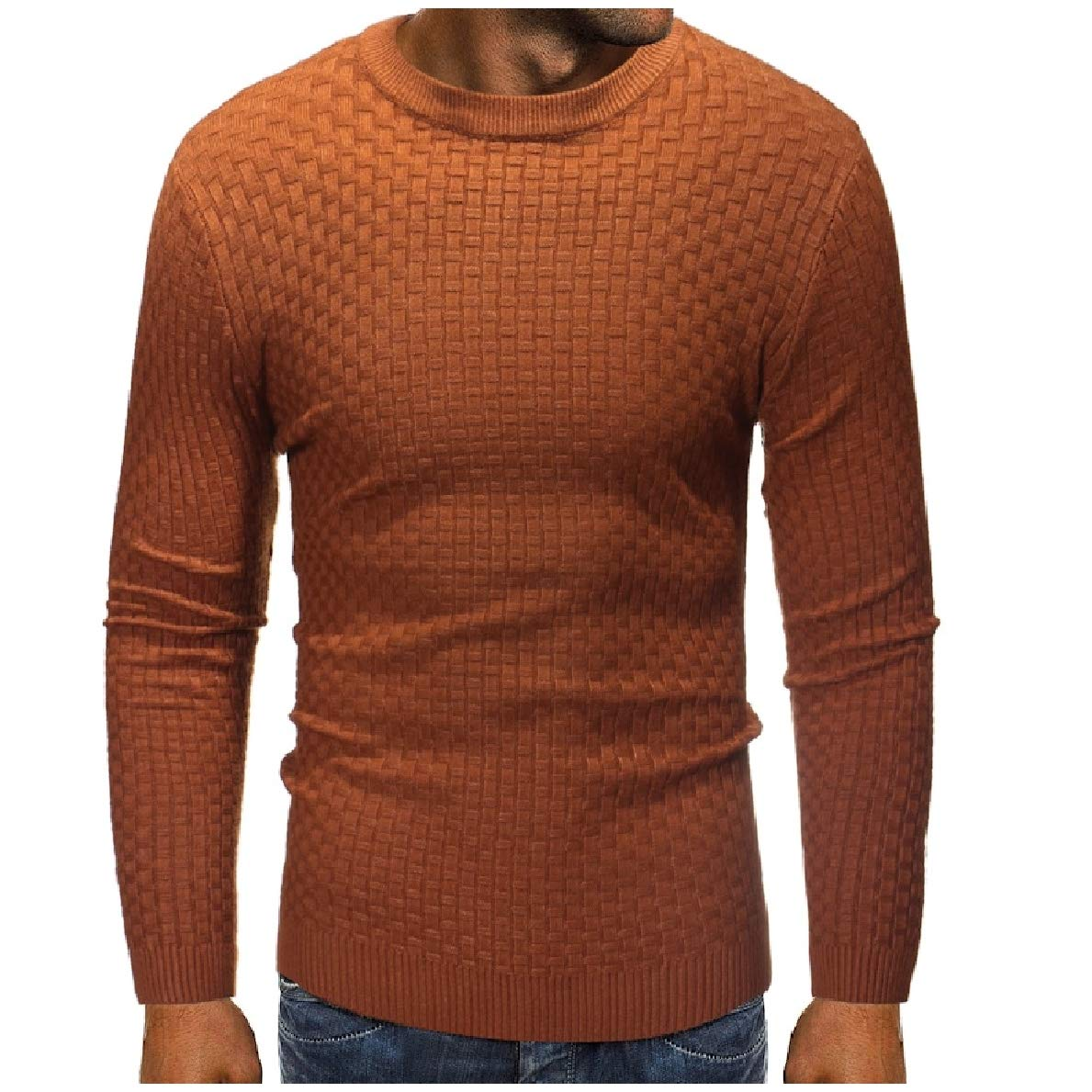 WillingStart Mens Pullover Crewneck Knitwear Pure Stretchy Tops Long Sleeve Sweaters