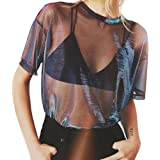 fd6b125bb0585 LOTUYACY Women s Sexy Metallic Shimmer Mesh Tee Short Sleeve See Through  Mesh