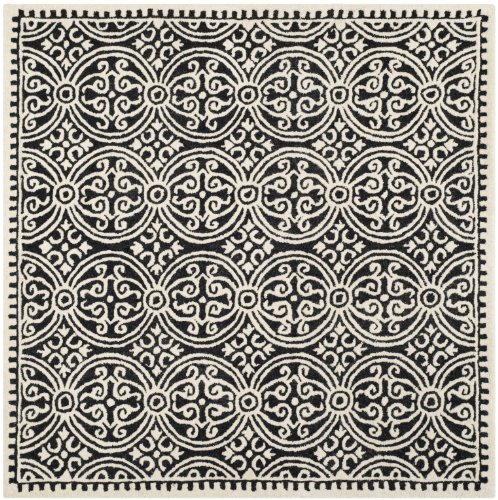 (Safavieh Cambridge Collection CAM123E Handcrafted Moroccan Geometric Black and Ivory Premium Wool Square Area Rug (6' Square))