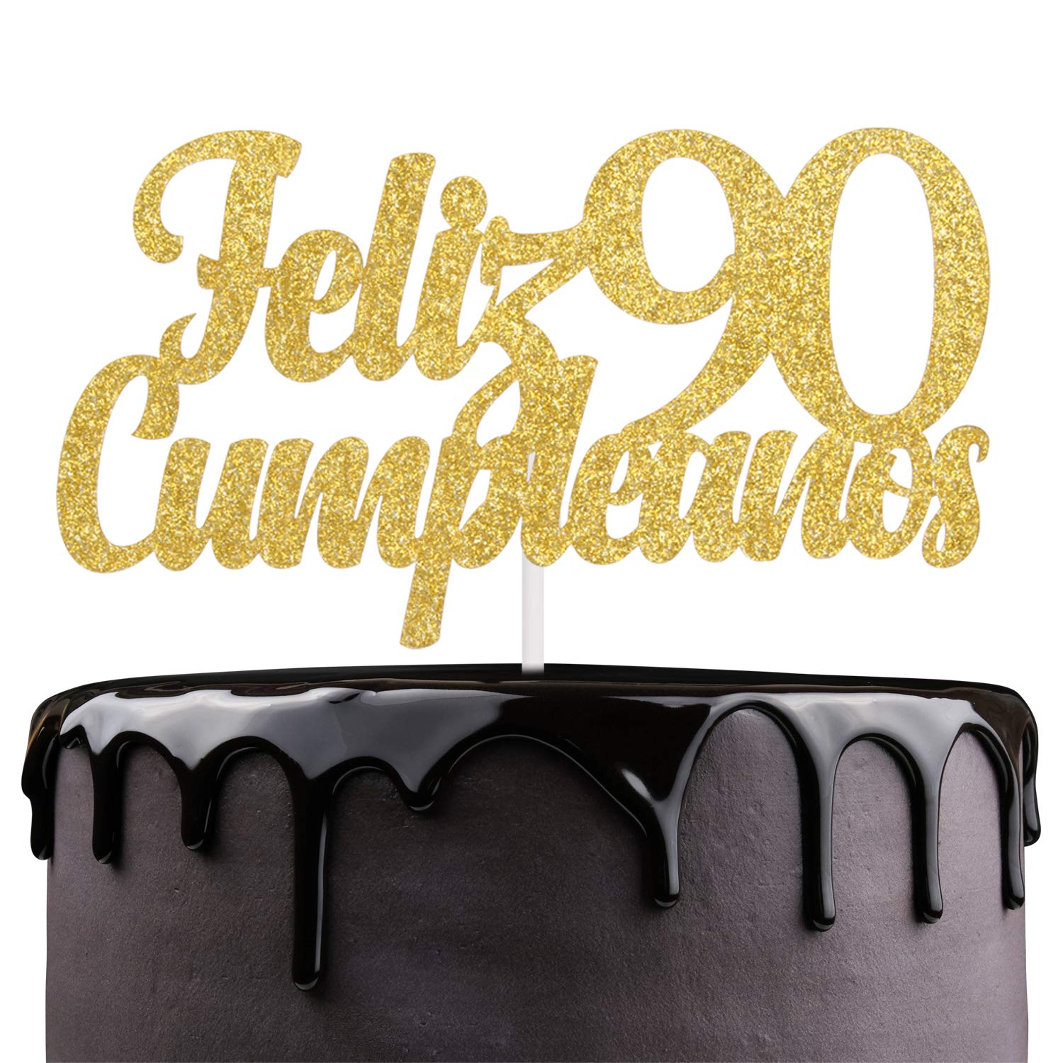 Feliz Cumpleaños 90th Birthday Cake Topper - Gold Glitter Spanish Ninety Days Wedding Anniversar Cake - Cheers To Fabulous 90 - Babys Noventa Días ...