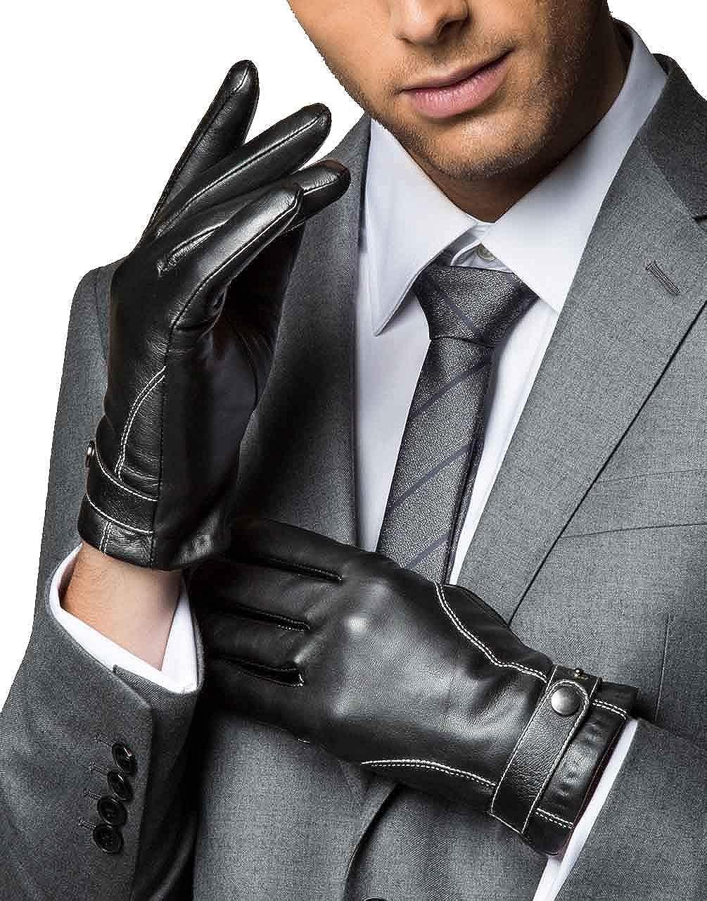 YISEVEN Mens Touchscreen Lambskin Winter Leather Gloves Slim
