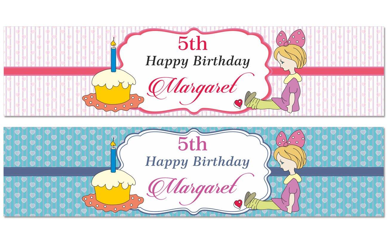 Mädchen Mädchen Mädchen Geburtstags-Party Personalisierte Wasserflaschenaufkleber wasserdicht individuelle Aufkleber 8  x 2  Zoll - 40 Etiketten B012SJBHVG | Zuverlässige Leistung  f3ed70