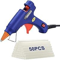 TOPELEK Mini Pistola de Silicona Caliente con 50 PSC Barras Pegamento Alta Temperatura, Kit Pistolas Encolar para Manualidades Artesanía de Bricolaje Reparaciones Rápidas (20 Vatios, Azul)