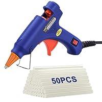 TOPELEK Mini Silicona Caliente con 50 PSC Barras Pegamento Alta Temperatura, Kit Pistolas Encolar para Manualidades Artesanía de Bricolaje Reparaciones Rápidas (20 Vatios, Azul)