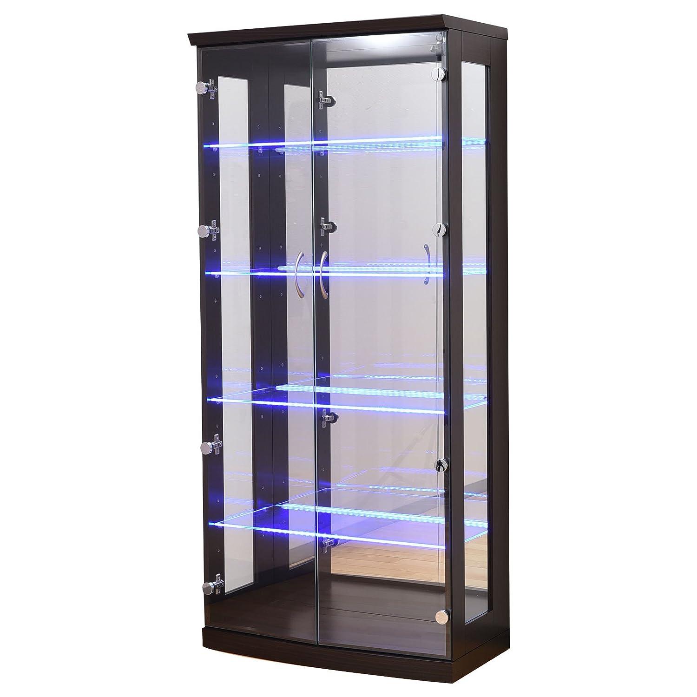 大川家具 アビライト コレクションボード ガラス棚板が光る ディスプレイコレクションボード 高さ155タイプ ブラウン KMS-0008 B01M16AZP1 ブラウン 高さ155cm
