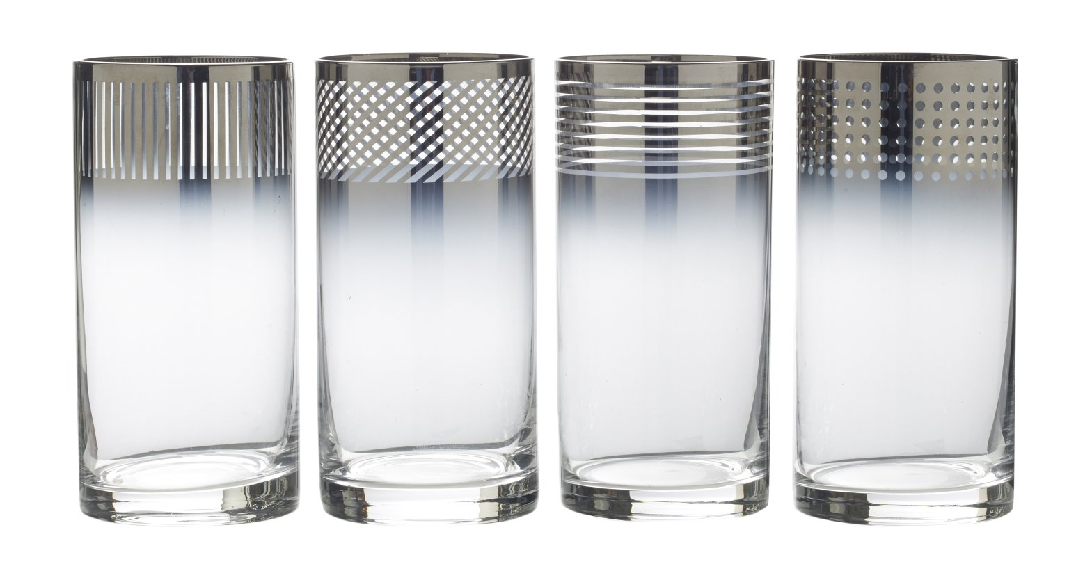 Mikasa Cheers Metallic Ombre Highball Glass, 18-Ounce, Set of 4