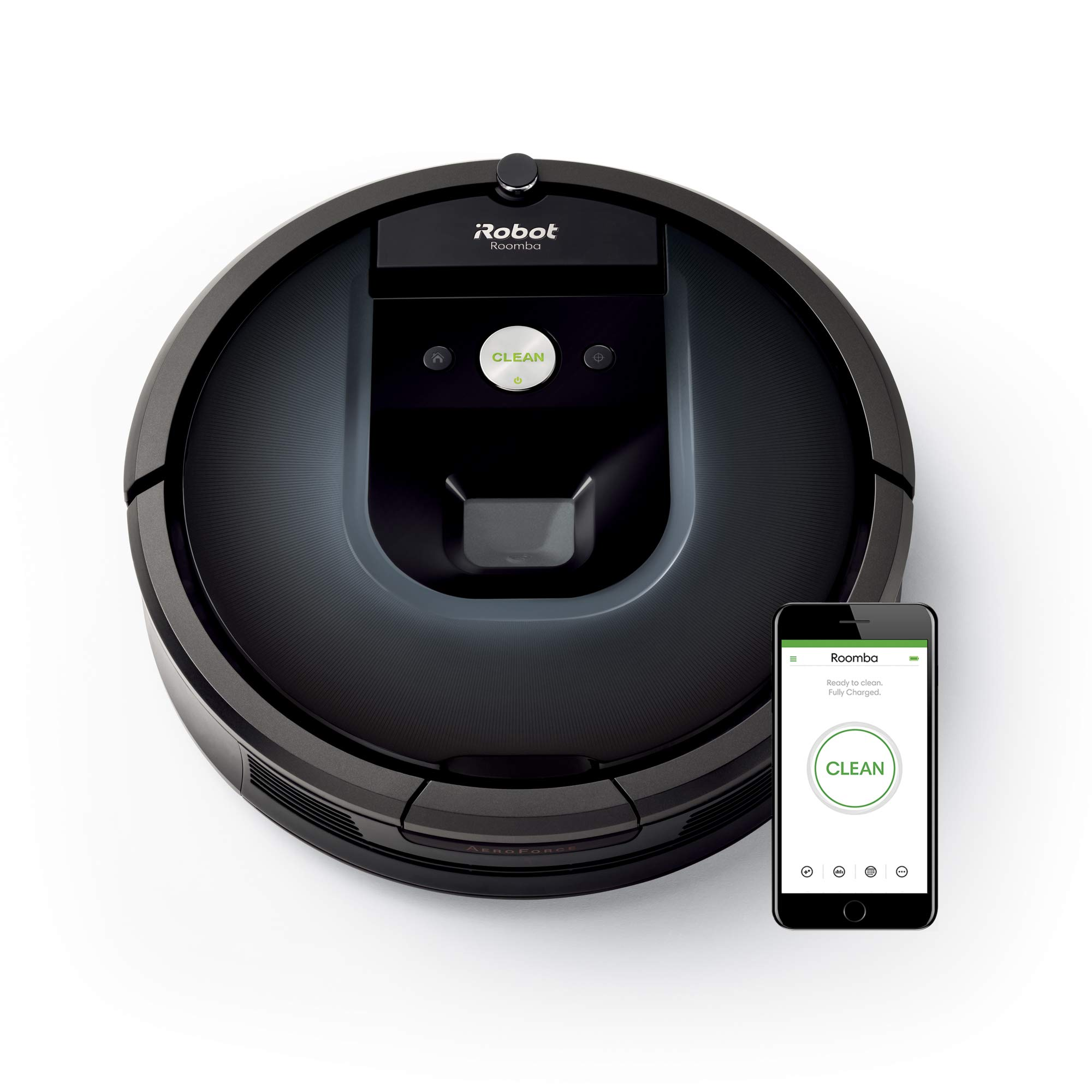 iRobot Roomba 981 Robot Aspirapolvere, Sistema di Pulizia ad alte Prestazioni, Dirt Detect, Spazzole Tangle-Free, Adatto a Pavimenti e Tappeti, per i Peli degli Animali Domestici, Wi-Fi, Blu Notte product image
