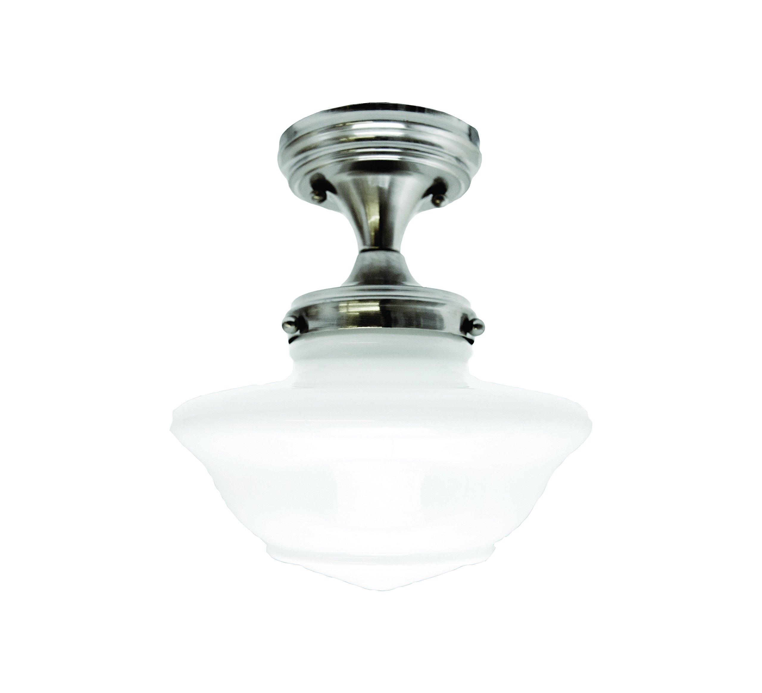 Design House 577494 Schoolhouse 1 Light Ceiling Light, Satin Nickel