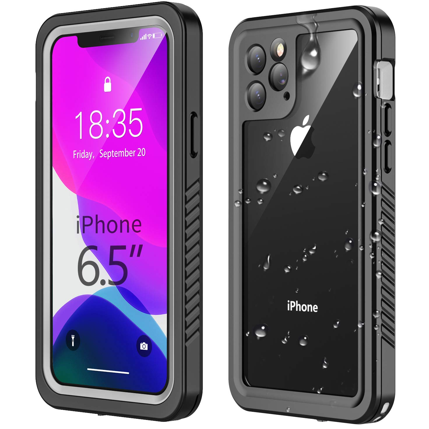 Temdan iPhone 11 Pro Max Waterproof Case, Built in Screen Protector Clear Sound Quality Full Sealed Cover Shockproof Dirtproof Outdoor Rugged Waterproof Cases for iPhone 11 Pro Max 6.5 inch 2019 by Temdan