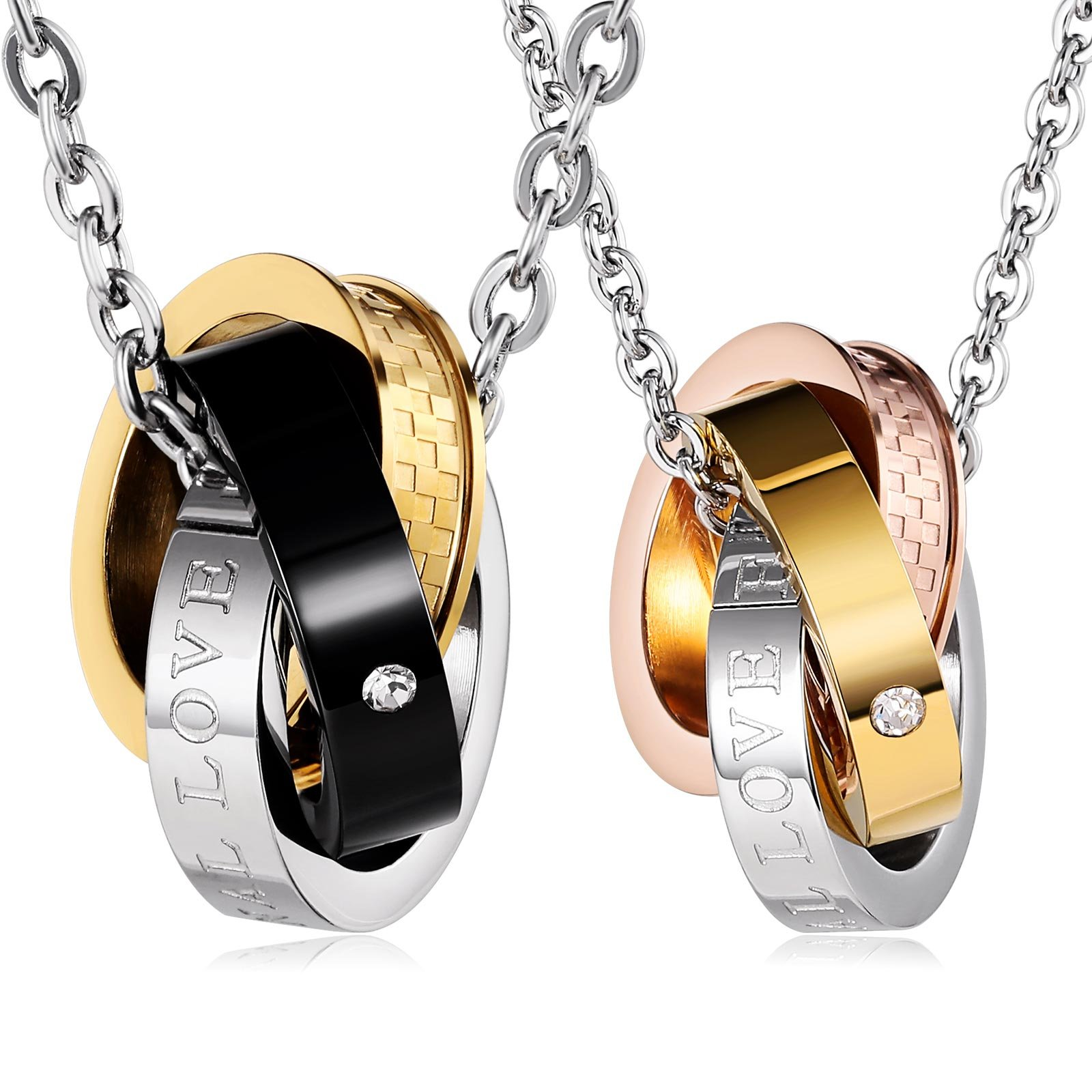 Aienid Stainless Steel Necklaces Set for Couple Eternal Love Pendant Neckalce with Chain
