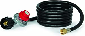 Camco 58034 8' Propane Hose with Regulator for Little Red Campfire