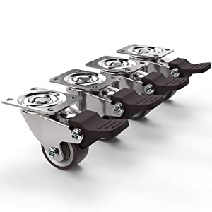 Swivel Plate Brake Caster Wheels, BHONY 1'' Heavy Duty Casters Set of 4, Noiseless Small Roller Wheels Bearing 100lbs Load Capacity with Wheel Brake