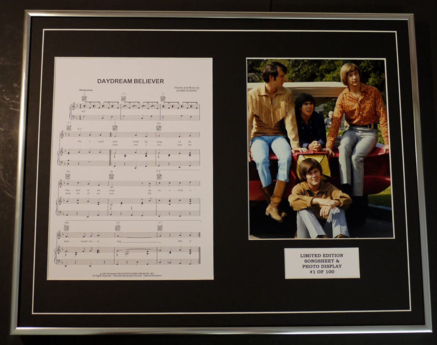 THE MONKEES//Song Sheet /& Photo Display//Limited Edition//DAYDREAM BELIEVER