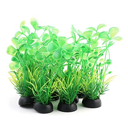 sourcing map Pecera Paisaje plástico Césped Artificial decoración Planta Verde 10pcs