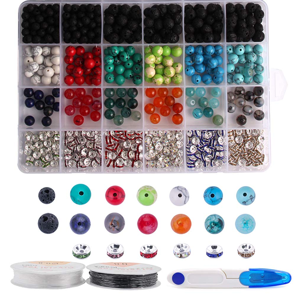 Dushi DIY Jewelry Kit 559pcs 8mm Bead Kit Round Loose Gemstone Natural Amethyst Lava Stone Black for Jewelry Making with 1 Scissor& 2 Crystal Strings (559 pcs) by Colle