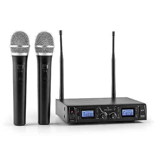 Malone Duett Pro V1 • Set de microphones sans fil 2 canaux UHF • Système de microphones sans fil • 2 microphones à main sans fil • Portée de 50 m • Protection anti-pop • Grande autonomie • Noir
