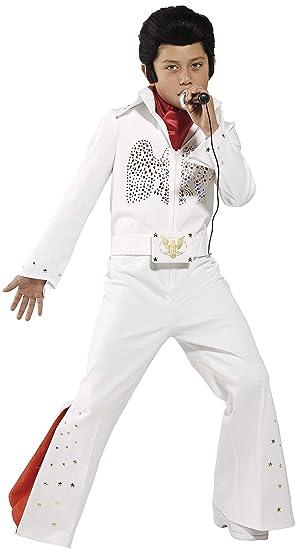 Smiffys 36104M-Traje de Elvis para niños , traje y bufanda, blanco, M - Edad 7-9 años