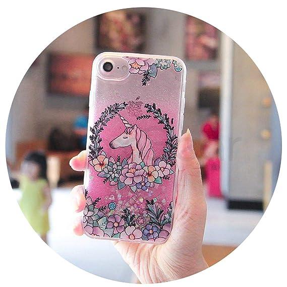 4d3b00f5cc Amazon.com: Cute Cartoon Unicorn Liquid Quicksand Glitter Case for ...