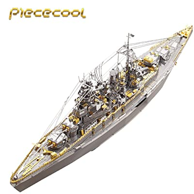Piececool 2020 3D Metal Puzzle Japan Nagato Class Battleship P091-GS DIY 3D Laser Cut Assemble Models Toys for Audit: Toys & Games