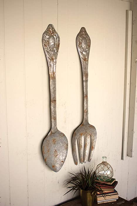 Kalalou Set of Large Metal Fork and Spoon Wall Decor, One Size, Gray