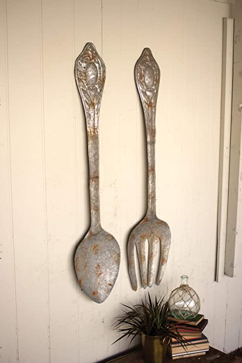 Kalalou Set Of Large Metal Fork And Spoon Wall Decor One Size Gray