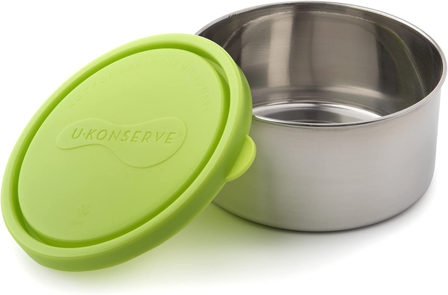 U Konserve - Round Container, Stainless Steel, Pack in Lunches, Picnics and Travel, Perfect for Fruit Salad, Cut Veggies, Pasta Salad and More, Dishwasher Safe (Medium, Lime)