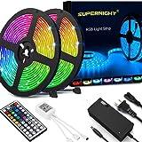 SUPERNIGHT Led Light Strip Waterproof IP65, SMD 5050 32.8 Ft (10M) 300leds RGB Flexible Rope Lights 30leds/m with 44 Key…