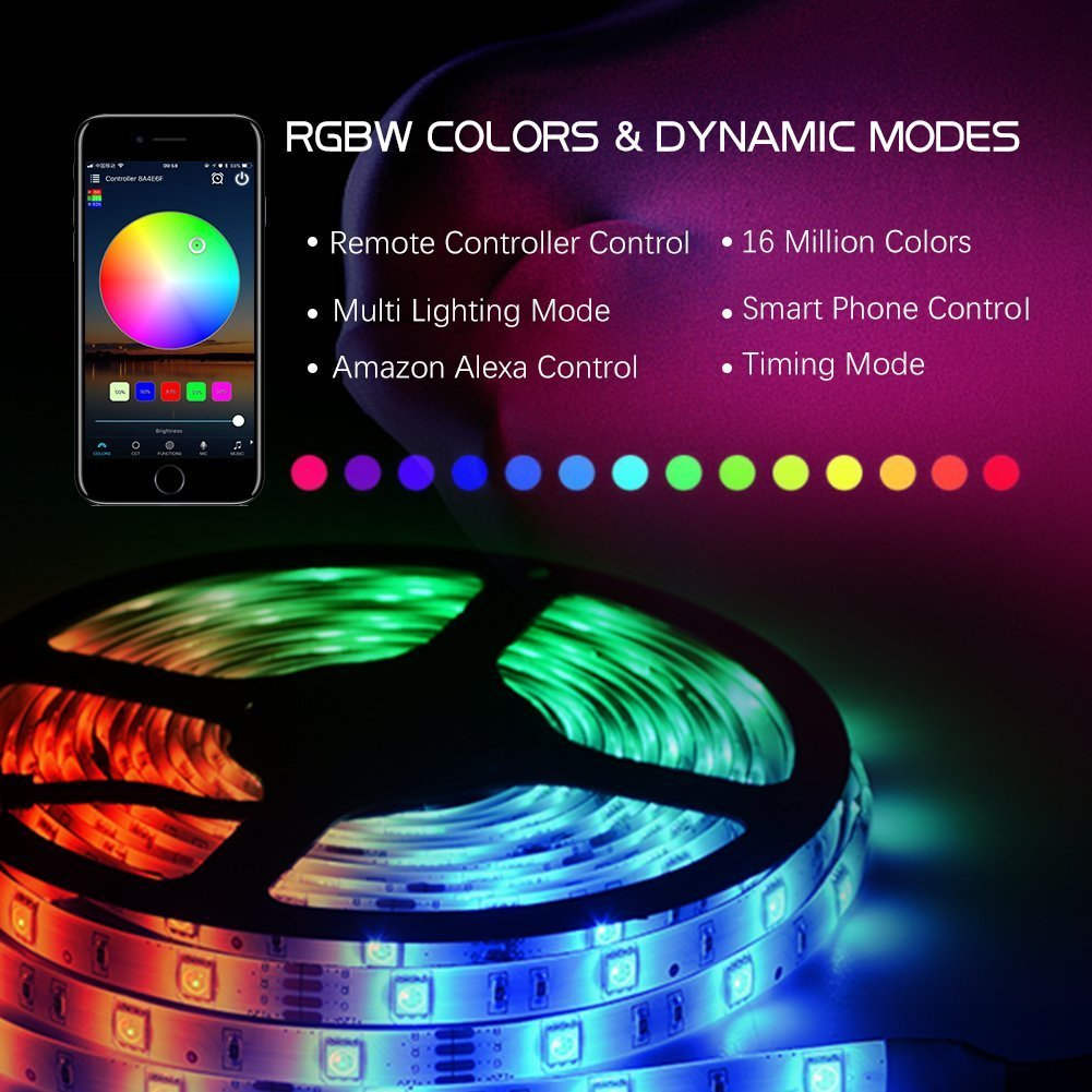 Efyly YHG Wifi Wireless Smart Phone Controlled Led Strip Light Kit with DC12V UL Listed Power Supply Waterproof SMD 5050 150leds RGB Timer LED Tape Lights Work with Android, IOS and Alexa by Efyly