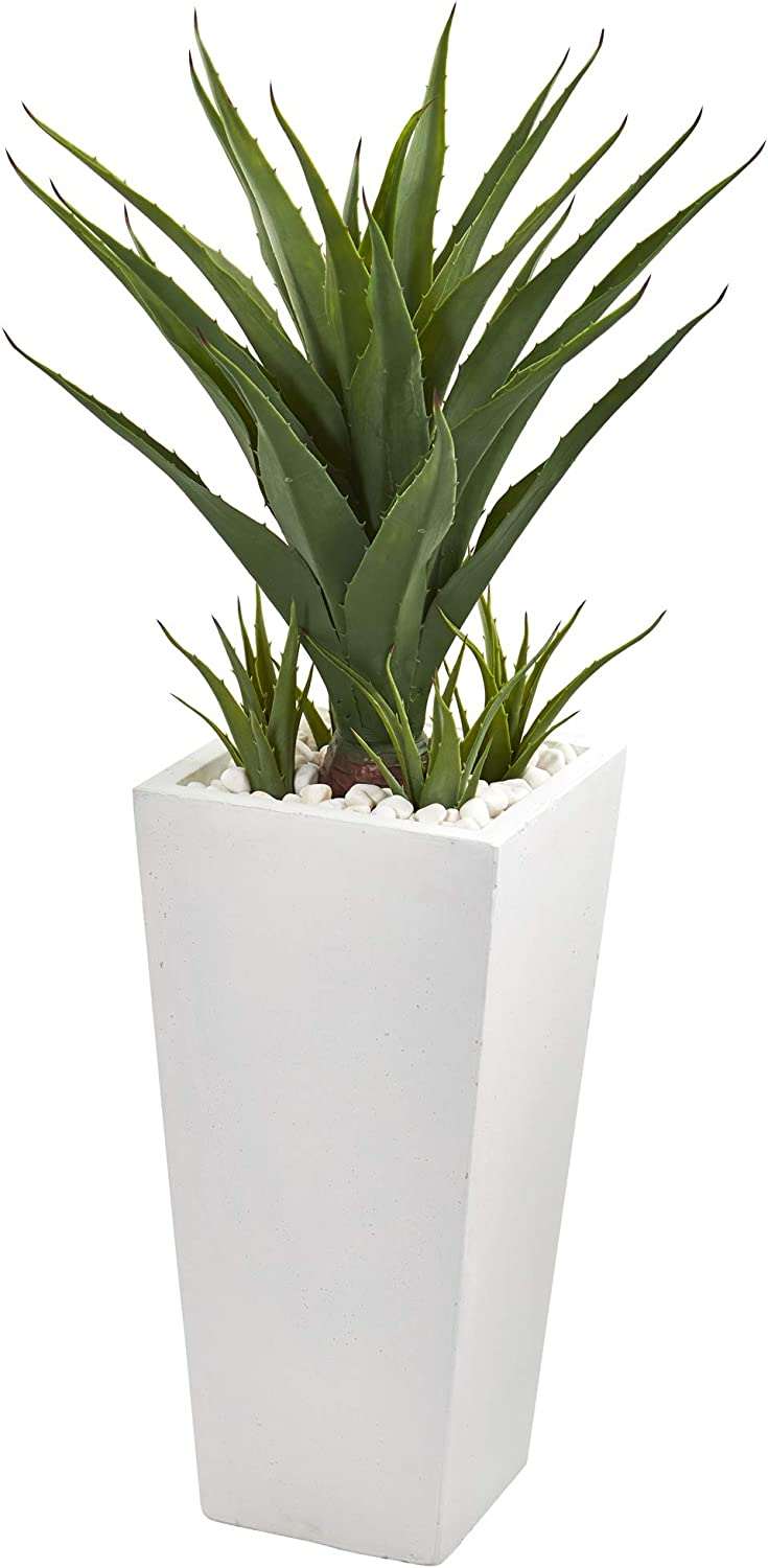 "Nearly Natural 40"" Spiky Agave Artificial White Planter Silk Plants, Green"