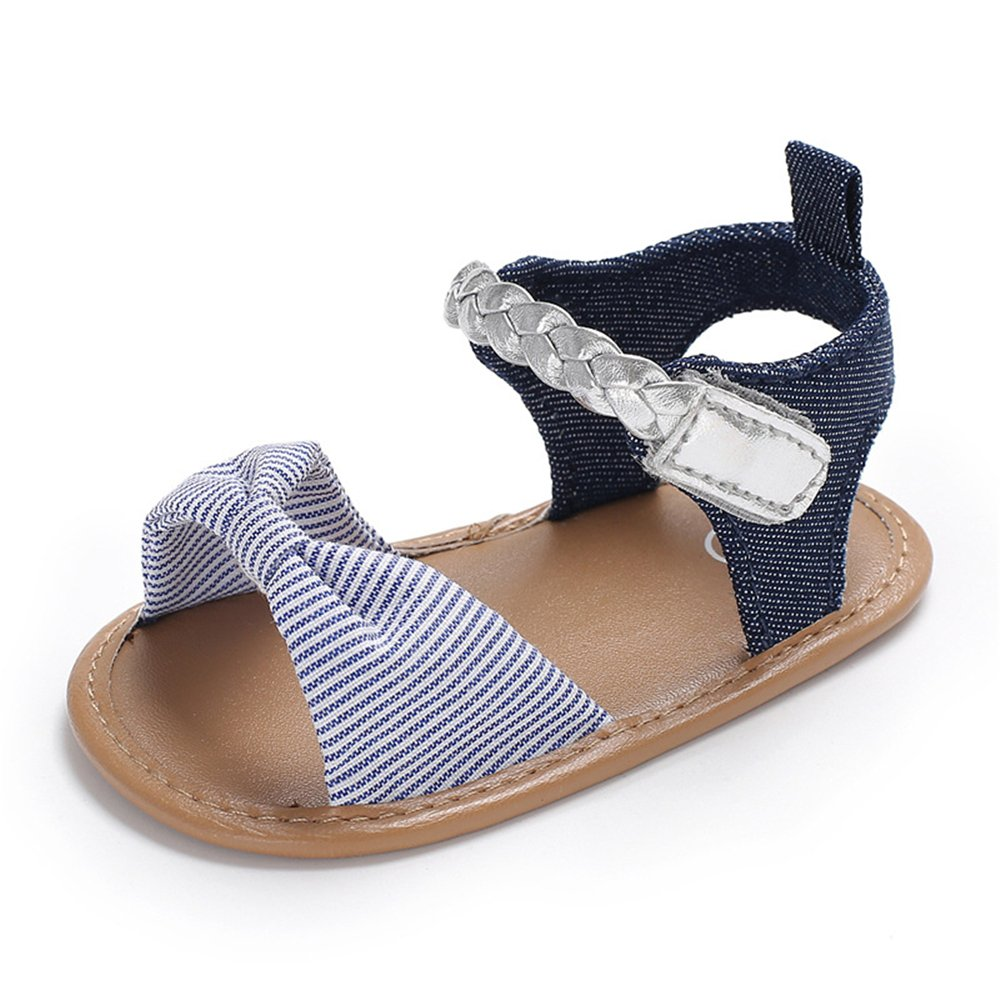 BebilaSoft Leather Bowknot Baby Summer Sandals-Dots Stripes Printed Shoes Infant Toddler Girls