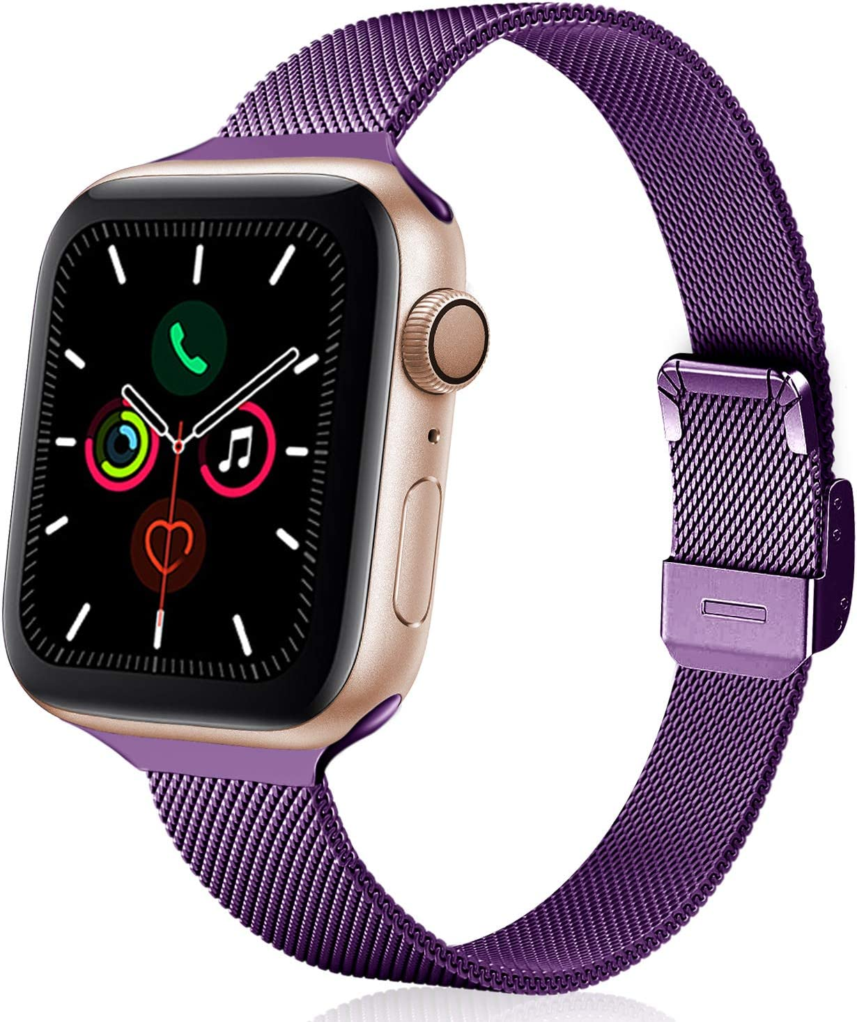 TRA Metal Slim Band Compatible for Apple Watch Band 38mm 40mm 42mm 44mm, Stainless Steel Mesh Adjustable Replacement Thin Strap Wristband for iWatch Series 5/4/3/2/1 Women & Men (Purple, 42mm/44mm)